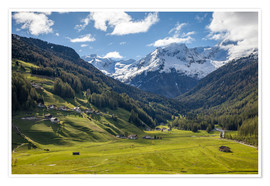 Poster Premium High mountain valley at Riva di Tures South Tyrol (Italy)