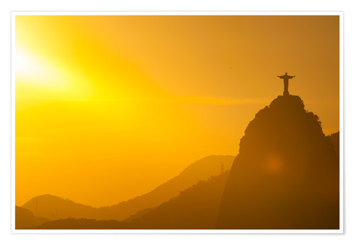 Poster Premium View from the Sugarloaf of Christ the Redeemer statue on Corcovado, Rio de Janeiro, Brazil, South Am