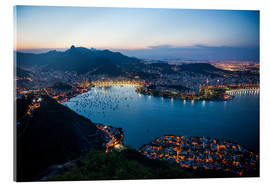Vetro acrilico  View from the Sugarloaf at sunset, Rio de Janeiro, Brazil, South America - Michael Runkel