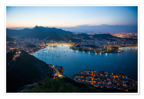 Poster Premium View from the Sugarloaf at sunset, Rio de Janeiro, Brazil, South America