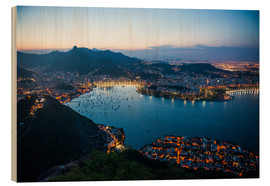 Stampa su legno  View from the Sugarloaf at sunset, Rio de Janeiro, Brazil, South America - Michael Runkel