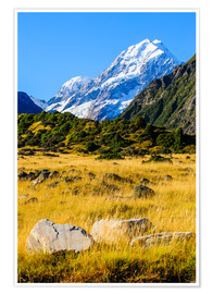 Poster Premium Mount Cook highest mountain in New Zealand, South Island