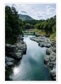 Poster Premium River contributing water to the Marlborough Sounds, South Island, New Zealand, Pacific