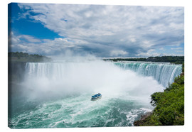 Stampa su tela  Tourist boat in the mist of the Horseshoe Falls (Canadian Falls), Niagara Falls, Ontario, Canada, No - Michael Runkel