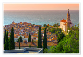 Alan Copson - Old Town view with Church of St. George (Cerkev sv. Jurija), Piran, Primorska, Slovenian Istria, Slo