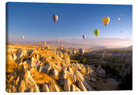 Stampa su tela  Hot air balloons over Cappadocia - David Clapp