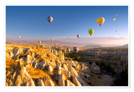 Poster Premium  Hot air balloons over Cappadocia - David Clapp
