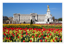 Poster Premium  Buckingham Palace and Queen Victoria Monument with tulips, London, England, United Kingdom, Europe - Stuart Black
