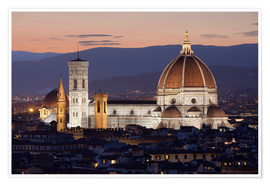 Poster Premium  Duomo at night from Piazza Michelangelo, Florence, UNESCO World Heritage Site, Tuscany, Italy, Europ - Stuart Black