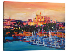 Stampa su tela  Spain Balearic Island Palma de Mallorca with Harbour and Cathedral - M. Bleichner