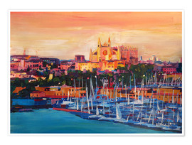 Poster Premium  Spain Balearic Island Palma de Mallorca with Harbour and Cathedral - M. Bleichner