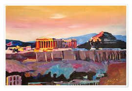 Poster Premium  Athens Greece Acropolis At Sunset - M. Bleichner