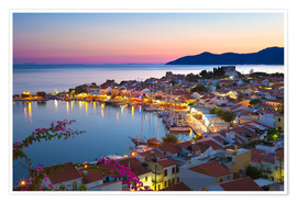 Poster Premium  Harbour at dusk, Pythagorion, Samos, Aegean Islands, Greek Islands, Greece, Europe - Stuart Black