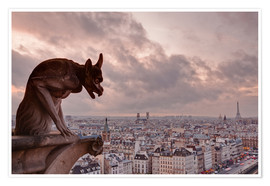 Julian Elliott - A gargoyle on Notre Dame de Paris cathedral looks over the city, Paris, France, Europe