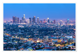 Poster Premium  Cityscape of the Los Angeles skyline at dusk, Los Angeles, California, United States of America, Nor - Chris Hepburn