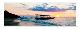 Poster Premium  Mount Agung on Bali and fishing boats silhouetted against a sunset, Gili Trawangan, Gili Isles, Indo - Matthew Williams-Ellis