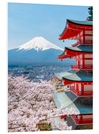 Jan Christopher Becke - Chureito Pagoda with Fuji and cherry blossoms