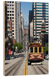 Stampa su legno  Cable car crossing California Street - Gavin Hellier