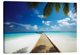 Stampa su tela  Wooden jetty out to tropical sea - Sakis Papadopoulos