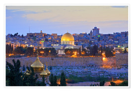 Poster  Jerusalem with Dome of the Rock - Neil Farrin