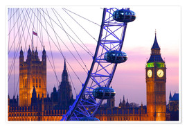Poster Premium  London Eye & Houses of Parliament - Neil Farrin