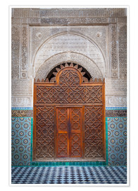 Poster Premium Door of the Medersa Bou Inania, Fes