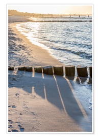 Poster Premium Sunset on the Baltic Sea beach