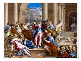 Poster Premium  Christ expels traders from the temple - Dominikos Theotokopoulos (El Greco)