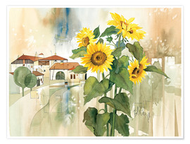 Poster Premium  Sunflower greetings - Franz Heigl
