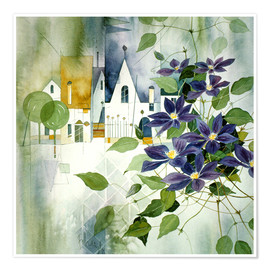 Poster Premium Rural impression with clematis