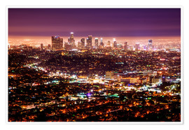Poster Premium  Los Angeles at night - Daniel Heine
