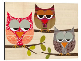 Stampa su alluminio  Owls on wood Collage - GreenNest