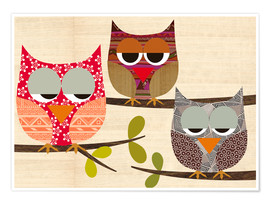 Poster Premium Owls on wood Collage