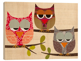 Stampa su legno  Owls on wood Collage - GreenNest