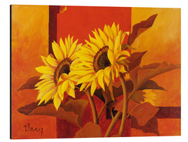 Stampa su alluminio  Two sunflowers III - Franz Heigl