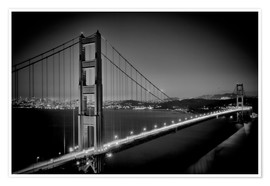 Poster Premium  Golden Gate Bridge in the Evening - Melanie Viola