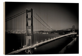 Stampa su legno  Golden Gate Bridge in the Evening - Melanie Viola