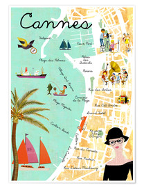Poster Premium  Cannes vintage Collage - GreenNest