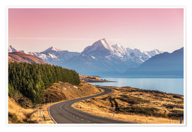 Poster Premium  Road to Aoraki, New Zealand - Matteo Colombo
