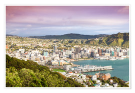 Poster Premium  Wellington in the morning, New Zealand - Matteo Colombo