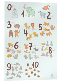 Vetro acrilico  Animal numbers for the nursery - Petit Griffin