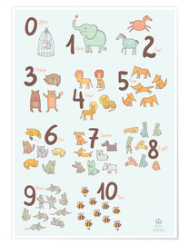 Poster Premium  Animal numbers for the nursery - Petit Griffin