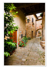 Poster Premium Mediterranean alley in Tuscany
