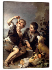 Stampa su tela  The pie eaters - Bartolome Esteban Murillo