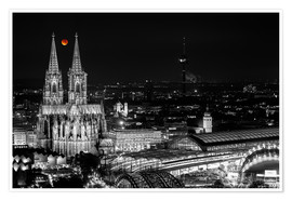 Poster Premium Blutmond over the Cologne Cathedral