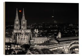 Stampa su legno  Blutmond over the Cologne Cathedral - rclassen