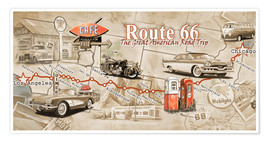 Poster Premium  Route 66 Map - Georg Huber