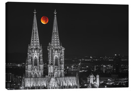 Stampa su tela  Blood Red Moon Cologne Cathedral - rclassen