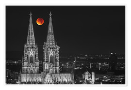 Poster Premium Blood Red Moon Cologne Cathedral