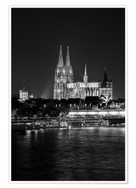 Poster Premium  Cologne Cathedral at night - rclassen